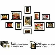 11Pcs Picture Frames Set Wall Gallery Collage Frames with Hanging Template Black
