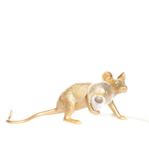 SELETTI + MARCANTONIO Special Edition Lie Down Mouse Lamp GOLD Colour LED Bulb