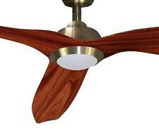 Lámpara Ventilador  LED 15w Cuero 3 Aspas Cerezo 132cm y Control Remoto Delfos