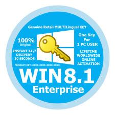 Original Genuine Key WIN 8,1 Enterprice Multilingual Lifetime Online Activation