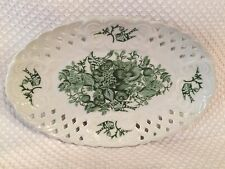 Basic Porcelana Home Essential RARE Oval Decor Only Green White Lattice Plate