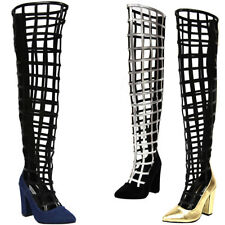 Women Pointy Toe Cage CutOut Over The Knee Thigh High Gladiator Boot Chunky Heel
