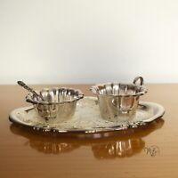 Vintage Set Milch und Zucker mit Tablett VERSILBERT ? 50er 60er Jahre Antik Stil