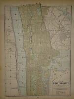 Vintage 1892 CENTRAL MANHATTAN MAP ~ Old Antique Original Atlas Map 80718