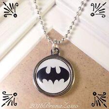 Collana Batman Supereroi Pendant Necklace Vintage Hipster Argento Retrò Handmade
