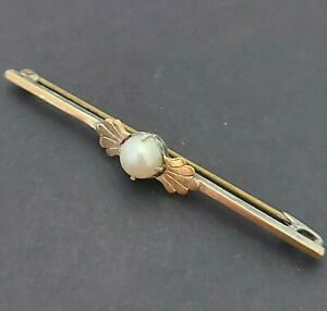 Edwardian 925 Silver & 9ct Gold Bar Brooch / Pin set with a Pearl - 3.7 grams