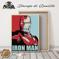QUADRO Shepard Farey IRON MAN STAMPA TELA CANVAS fumetto Avengers POP ART TOP