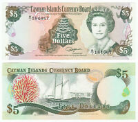 CAYMAN ISLANDS 5 Dollars Prefix B/1 1991 P-12 Queen Elizabeth QE II UNC