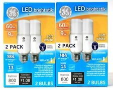 2 Boxes GE LED Bright Stik 9w Soft White 800 Lumens Non Dimmable 2 Count Bulbs