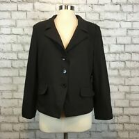 Talbots Women's Career Work Professional Brown 3 Button Blazer Jacket Size 16