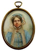 Antique Portrait Miniature19th Century, of a Woman with a Bonnet by N. Gardelli