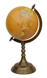 16inch Antique Brass World Globe & Map on Aluminum Stand Office Desk Decor-Stand