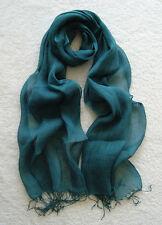 100% Linen Women and Girls Scarf (Lake Blue)