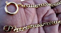 Gold Plated Pocket Watch Chain With Spring Ring Clasp and Lobster Hook Hook