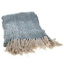 Blue & Cream Herringbone Design Bedspread / Throw