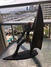 SURF'S UP! Vintage HAWAIIAN Tiki Statue Surfer Dude Wood Carving Tiki Bar