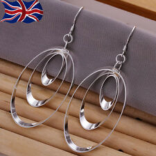 925 Sterling Silver Oval Earrings Shiny Triple Oval Loop Dangle Free Gift Bag UK