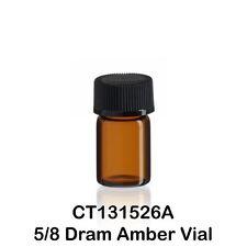 "100 Amber Glass Vials w/ Screw Caps 15 x 26 mm 5/8 Dram, 1/12 ounce, 2.3 ml, 1"""