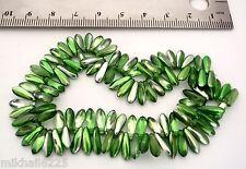50 3x11mm Czech Glass Daggers: Coated - Metallic Green
