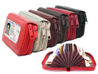 GENUINE LEATHER LADY'S ACCORDION ZIP WALLET CREDIT CARD ORGANIZER