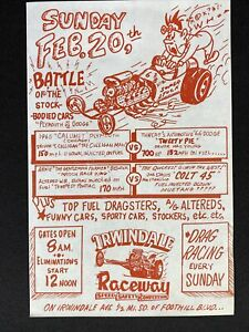 Vtg 1960's Irwindale Raceway California Drag Strip Car Race Paper Sign Poster