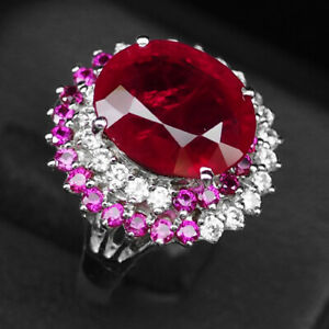 RUBY BLOOD RED OVAL 7.10 CT. SAPPHIRE 925 STERLING SILVER RING SIZE 6.25 GIFT