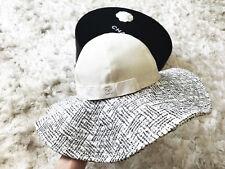 NIB FABULOUS CHANEL WIDE BRIM FEDORA TWEED WHITE BLACK FLOPPY HAT 57