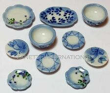 10-Piece Dollhouse Miniature Ceramic Set * Doll Mini Food Bowl Plates Dishes c66