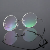 Vintage Round Rimless Glasses Eyeglasses Metal Frame Clear Lens Nerd Spectacles