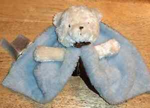 NWOT CARTER'S MINKY WHITE LOVEY BEAR Security Blanket Blue & Brown Satin BABY