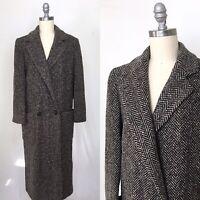 Vintage 80s Perry Ellis Portfolio Herringbone Wool Coat Size Medium/Large