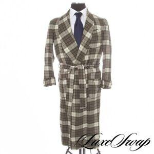 Vintage Pendleton Made in USA Green Multi Tartan Tweed Dressing Gown Robe S NR