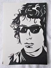 A4 Bolígrafo Marcador De Arte Dibujo cartel de Bob Dylan Hair & Gafas de sol una