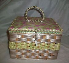 Vintage USB Sewing Basket Japan Wood Vinyl Flower Style No 346 T