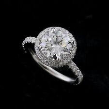 Engagement Ring 14k White Gold Gp 8 mm Solitaire Double Halo Moissanite Eternity