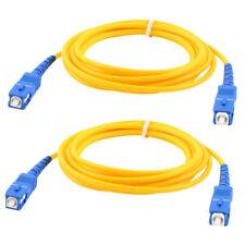 2 Pcs Simplex Single Mode SC to SC Male Fiber Optic Patch Yellow 2M R5W5
