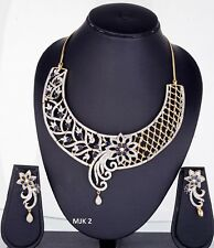 Indian Fashion Jewelry Bollywood Bridal American Diamond Necklace Earring Sets