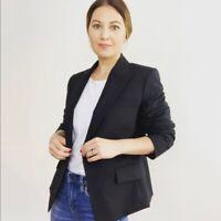 Theory Womens Sz 12 Black 1 Button Classic Blazer Jacket All Season Wool