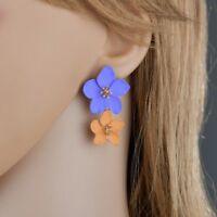 Women Simple Ear Studs Flower Earrings Baking Paint Multicolor Colorful Flower