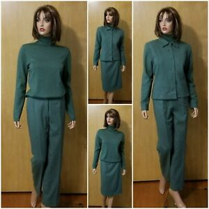 WOMEN'S PENDLETON GREEN 4 PC. LINED WOOL SKIRT/PANTS SUIT SET OUTFIT ~ 8