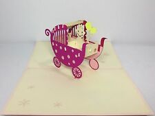 Pink Baby Pram Pop Up Card. 3D Handmade Baby Shower/New Baby/Mom/Congratulations
