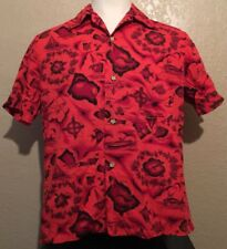 fe029e79b Vintage 60s Ui-Maikai Mens Large Red Floral Hibiscus Island Map Hawaiian  Shirt L