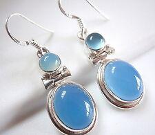 Chalcedony Earrings 925 Sterling Silver Double Gem Oval Round Dangle Drop New