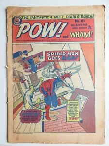 Pow! and Wham! comic No 61 - 16th March 1968 Spider-man Fantastic Four  VG
