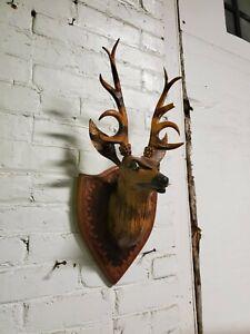 Vintage Hand Carved Burned Wood Deer Head Mount Faux Taxidermy Buck Folk Art