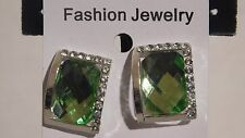 ".75"" silver green crystal clip on earrings non pierced jewelry"