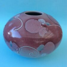 AUSTRALIAN STUDIO POTTERY KEVIN BOYD Vase Solid Hand Decorated Pinks Blue White