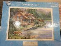 DOWN BY THE RIVER RIVERBANK COTTAGE 1000 PIECE JIGSAW PUZZLE COMPLETE BOAT DEER