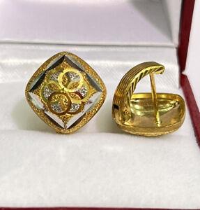18k Solid Multi Tone Gold Diamond Cut Half Huggie Clip Earrings, 3.79 grams