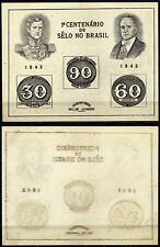 #654 - Brasile - Foglietto Centenario francobollo, 1943 - Senza gomma